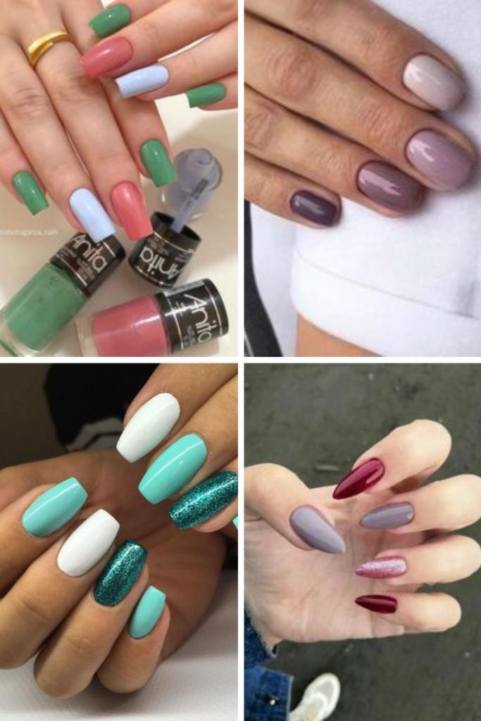 unhas colorida exemplos